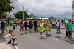 Demonstration against the government in Copacabana, Rio de Janeiro Royalty Free Stock Images