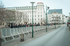 Demonstration against the government of Iceland during the Panam Stock Photos