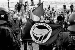 Demonstration. Against Islam at Prague Castle Stock Photos