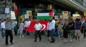 Demonstration against Israel's attack. On an aid flotilla trying to breach the Gaza blockade resulting the deaths of nine civilians on June 1, 2010 in Helsinki Royalty Free Stock Photo