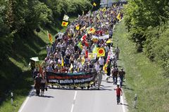 Demonstration against the nuclear power plant Royalty Free Stock Photo