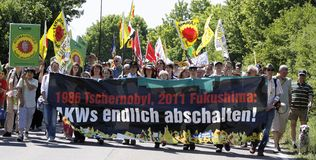 Demonstration against the nuclear power plant Stock Photo