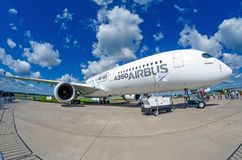Demonstration airplane Airbus A350 XWB. Russia, Moscow. July 2017. Demonstration airplane Airbus A350 XWB. Russia, Moscow July 2017 Royalty Free Stock Photography