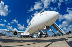 Demonstration airplane Airbus A350 XWB. Russia, Moscow. July 2017. Demonstration airplane Airbus A350 XWB. Russia, Moscow July 2017 Stock Photography