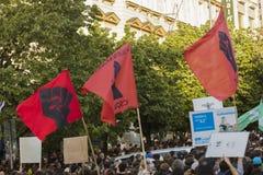 Demonstration auf Quadrat Prags Wenceslas gegen die gegenwärtige Regierung und das Babis, der Finanzminister Lizenzfreie Stockfotos