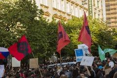 Demonstration auf Quadrat Prags Wenceslas gegen die gegenwärtige Regierung und das Babis, der Finanzminister Stockfotos