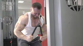Demonstration av övningen för armar och skuldror av mästaren av bodybuilding lager videofilmer