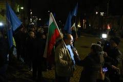 Demonstration av bulgariska poliser i Sofia som begär en 15% förhöjning i lön, för att formulera en ny lag för inrikesministeriet Royaltyfri Foto