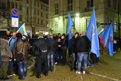 Demonstration av bulgariska poliser i Sofia som begär en 15% förhöjning i lön, för att formulera en ny lag för inrikesministeriet Arkivbild