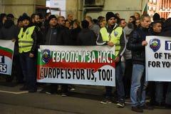 Demonstration av bulgariska poliser i Sofia som begär en 15% förhöjning i lön, för att formulera en ny lag för inrikesministeriet Royaltyfria Bilder