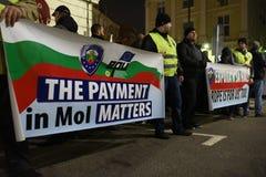 Demonstration av bulgariska poliser i Sofia som begär en 15% förhöjning i lön, för att formulera en ny lag för inrikesministeriet Arkivfoto