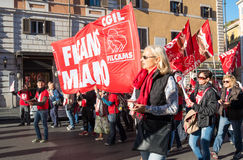Demonstration av handeln - unioner i Rome Royaltyfria Bilder