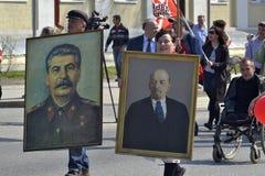 Demonstration av kommunistpartiet från den ryska federationen f royaltyfri foto