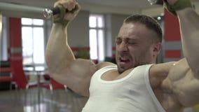 Demonstration av mästarens profil som gör övningar för större biceps stock video