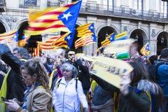 Demonstration av politiska fångar i Barcelona Arkivfoton