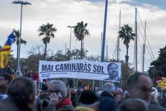Demonstration av politiska fångar i Barcelona Arkivfoto
