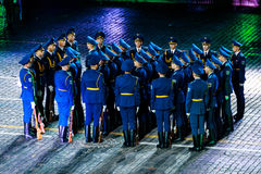 The Demonstration band of the Armed Forces and the Honor Guard of the Republic of Belarus at the Red Square. MOSCOW, RUSSIA - AUGUST 26, 2016: Spasskaya Tower Royalty Free Stock Photo