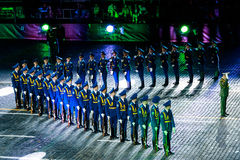 The Demonstration band of the Armed Forces and the Honor Guard of the Republic of Belarus at the Red Square. MOSCOW, RUSSIA - AUGUST 26, 2016: Spasskaya Tower Stock Photo