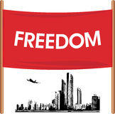 Demonstration banner on the cityscape background. Illustration Stock Photo