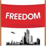 Demonstration banner on the cityscape background. Illustration Stock Photo