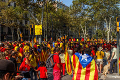 Demonstration in Barcelona form fridoom of Catalonia Royalty Free Stock Image