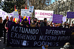 Demonstration in behalf of PODEMOS 7 Royalty Free Stock Photos