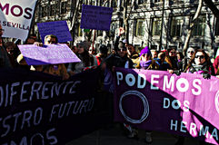 Demonstration in behalf of PODEMOS 12 Royalty Free Stock Photos