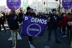 Demonstration in behalf of PODEMOS 17 Royalty Free Stock Photo