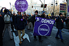 Demonstration in behalf of PODEMOS 18 Royalty Free Stock Photo