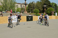 Demonstration bike Polo match at the event Royalty Free Stock Photo