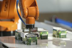 Demonstration of canned food robot royalty free stock images