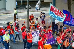 Demonstration of Chinese Labor Day stock photography