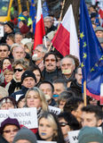 The demonstration of the Committee of the Defence  of the Democracy  KOD  for free media /wolne media/. CRACOW, POLAND - JANUARY 9, 2016:  -  The demonstration Stock Images
