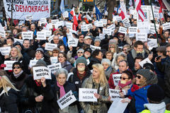 The demonstration of the Committee of the Defence  of the Democracy  KOD  for free media /wolne media/. CRACOW, POLAND - JANUARY 9, 2016:  -  The demonstration Royalty Free Stock Photos