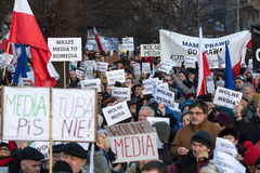 The demonstration of the Committee of the Defence  of the Democracy  KOD  for free media /wolne media/. CRACOW, POLAND - JANUARY 9, 2016:  -  The demonstration Stock Photo