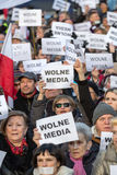 The demonstration of the Committee of the Defence  of the Democracy  KOD  for free media /wolne media/. CRACOW, POLAND - JANUARY 9, 2016:  -  The demonstration Stock Image