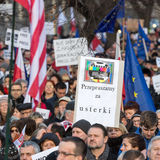 The demonstration of the Committee of the Defence  of the Democracy  KOD  for free media /wolne media/. CRACOW, POLAND - JANUARY 9, 2016:  -  The demonstration Stock Photos