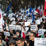 The demonstration of the Committee of the Defence  of the Democracy  KOD  for free media /wolne media/. CRACOW, POLAND - JANUARY 9, 2016:  -  The demonstration Stock Photography