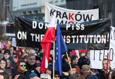 The demonstration of the Committee of the Defence  of the Democracy  KOD  for free media /wolne media/. CRACOW, POLAND - JANUARY 9, 2016:  -  The demonstration Royalty Free Stock Photo