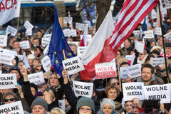 The demonstration of the Committee of the Defence  of the Democracy  KOD  for free media /wolne media/. CRACOW, POLAND - JANUARY 9, 2016:  -  The demonstration Royalty Free Stock Photography