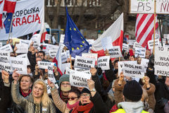 The demonstration of the Committee of the Defence  of the Democracy  KOD  for free media /wolne media/. CRACOW, POLAND - JANUARY 9, 2016:  -  The demonstration Royalty Free Stock Image