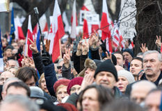 The demonstration of the Committee of the Defence  of the Democracy  KOD  for free media /wolne media/ Stock Photography