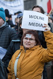 The demonstration of the Committee of the Defence  of the Democracy  KOD  for free media /wolne media/ Stock Images
