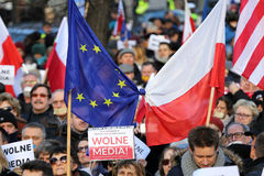 The demonstration of the Committee of the Defence  of the Democracy  KOD  for free media /wolne media/ and democracy against PIS g. CRACOW, POLAND - JANUARY 9 Stock Photo
