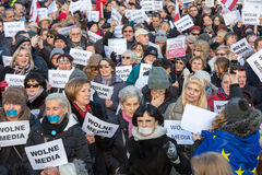 The demonstration of the Committee of the Defence  of the Democracy  KOD  for free media /wolne media/ and democracy against PIS g. CRACOW, POLAND - JANUARY 9 Stock Image