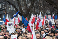 The demonstration of the Committee of the Defence  of the Democracy  KOD  for free media /wolne media/ and democracy against PIS g. CRACOW, POLAND - JANUARY 9 Royalty Free Stock Photos