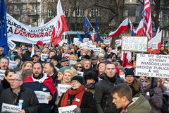 The demonstration of the Committee of the Defence  of the Democracy  KOD  for free media /wolne media/ and democracy against PIS g. CRACOW, POLAND - JANUARY 9 Stock Images