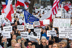 The demonstration of the Committee of the Defence  of the Democracy  KOD  for free media /wolne media/ and democracy against PIS g. CRACOW, POLAND - JANUARY 9 Stock Photos