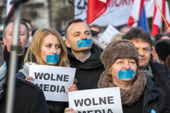 The demonstration of the Committee of the Defence  of the Democracy  KOD  for free media /wolne media/ and democracy against PIS g. CRACOW, POLAND - JANUARY 9 Royalty Free Stock Photography