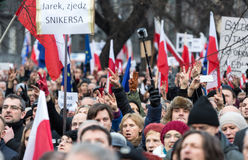 The demonstration of the Committee of the Defence  of the Democracy  KOD  for free media /wolne media/ and democracy against PIS g Royalty Free Stock Photography